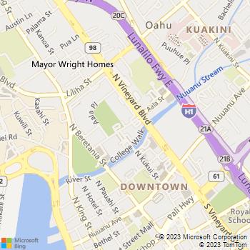 Map - Waena Apartments - 1320 Aala Street - Honolulu, HI, 96817