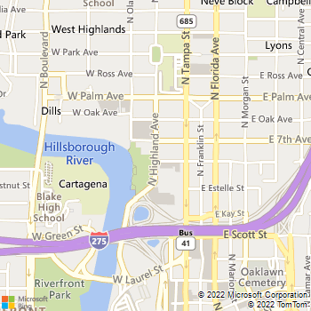 Map - Bush Ross, P.A. - 1801 N. Highland Ave. - Tampa, FL, 33602
