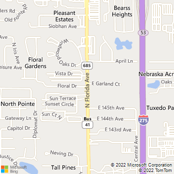Map - The Clean Plumbers - 14545 North Florida Ave. - Tampa, FL, 33613