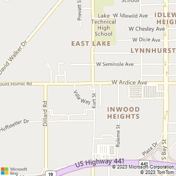Map - Eustis Veterinary Hospital - 2710 Kurt St - Eustis, FL, 32726