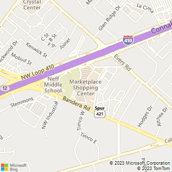 Map - Kool Smiles - 5601 Bandera Rd. - San Antonio, TX, 78238