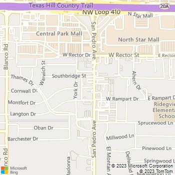 Map - North Star Animal Hospital - 7227 San Pedro Avenue - San Antonio, TX, 78216