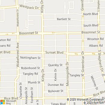 Map - Sunset Blvd Animal Clinic - 2525 Sunset Blvd - Houston, TX, 77005