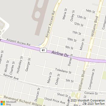 Map - Thrifty Car Rental - 1675 Airline Dr - Kenner, LA, 70062