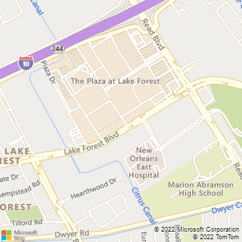 Map - River Region Rehab Physical - 10001 Lake Forest Blvd, Suite - New Orleans, LA, 70127