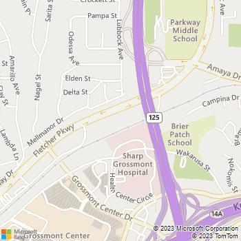 Map - The Lasik Vision Institute, LLC - 8881 Fletcher Parkway - La Mesa, CA, 91942