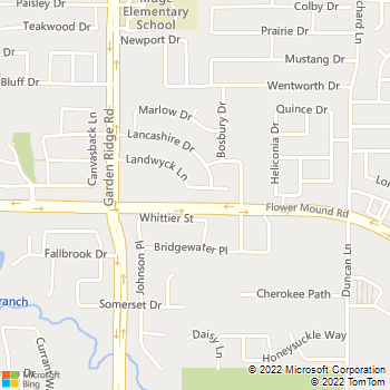 Map - DC Plumbing - 401 Landwyck Lane - Flower Mound, TX, 75028