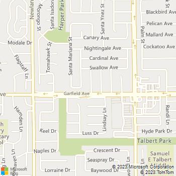 Map - Tony's Plumbing Service - 18973 Santa Catherine Street - Fountain Valley, CA, 92708