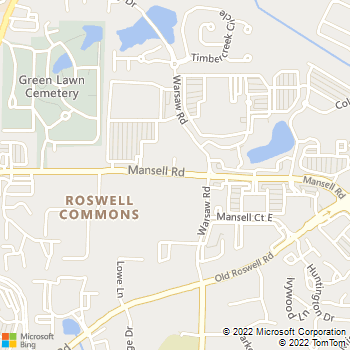 Map - Lightning Auto Glass Roswell - 1009 Mansell Road - Roswell, GA, 30076
