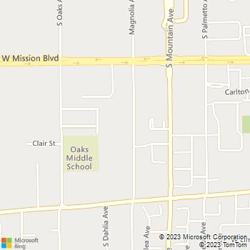Map - J I G Plumbing - 1016 Magnolia Avenue - Ontario, CA, 91762