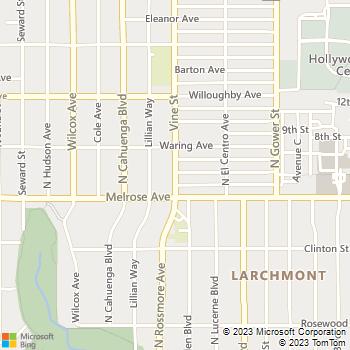 Map - sunset + vine - 1555 N Vine St - Los Angeles, CA, 90028