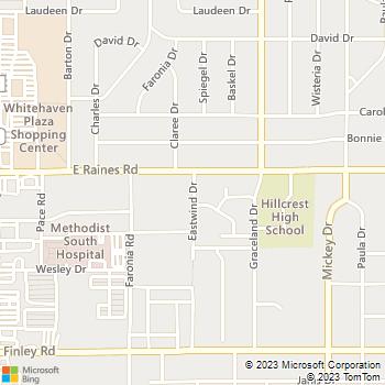 Map - Hillcrest Apartments - 4155 East Wind Drive #1 - Memphis, TN, 38116
