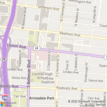 Map - American United Insurance Agency - 1331 Union Avenue - Memphis, TN, 38104