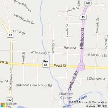 Map - Hill Creek Veterinary Hospital - 23 Rectory St - Pittsboro, NC, 27312