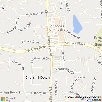 Map - Kildaire Animal Medical Center - 1409 Kildaire Farm Rd. - Cary, NC, 27511