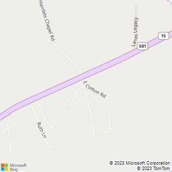 Map - Hope Crossing Animal Hospital - 58 East Cotton Rd. - Pittsboro, NC, 27312