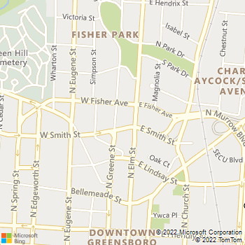 Map - Downtown Greensboro Animal Hospital - 120 W Smith Street - Greensboro, NC, 27401