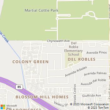 Map - Dooling Landscape Service - 388 Avenida Manzanos - San Jose, CA, 95123