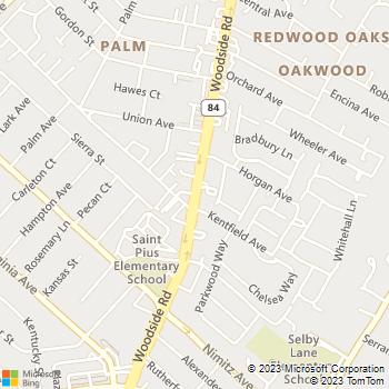 Map - Alta Wood Animal Hospital - 955 Woodside Rd - Redwood City, CA, 94061