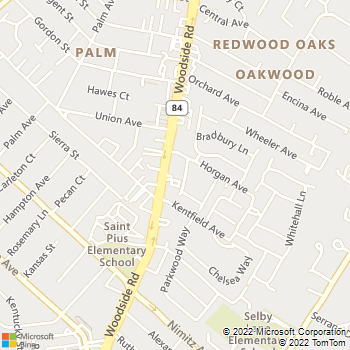 Map - Alta Wood Animal Hospital - 955 Woodside Rd - Redwood City, CA, 94061