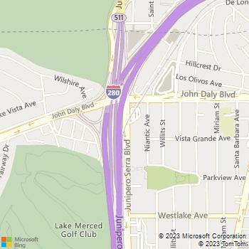 Map - Golden Gate Tow Inc - 1900 Junipero Serra Blvd - Daly City, CA, 94014