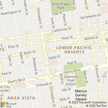 Map - American Laser Skincare - 2300 Sutter Street - San Francisco, CA, 94115