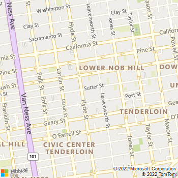 Map - AVA Nob Hill - 965 Sutter Street - San Francisco, CA, 94109