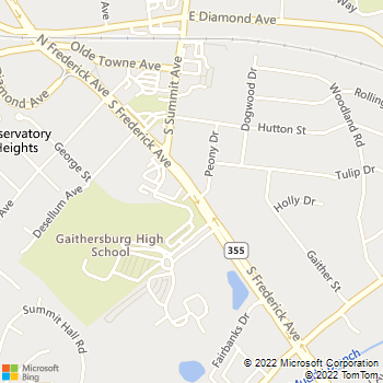 Map - Locksmith Services - 314 South Frederick Avenue - Gaithersburg, MD, 20877