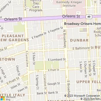 Map - Mr. 24/7 Locksmith - 1555 E Baltimore Street - Baltimore, MD, 21231