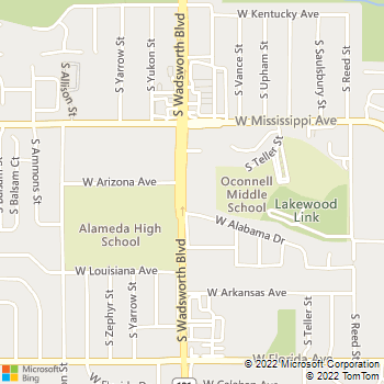 Map - Stockton Pet Hospital - 1234 S Wadsworth Blvd - Denver, CO, 80232