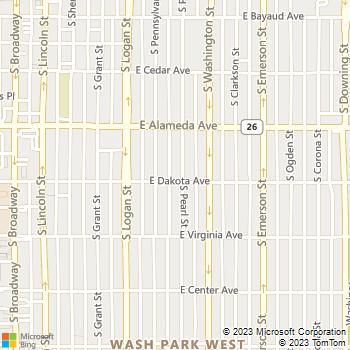 Map - Washington Park Veterinary Clinic - 393 S Pearl Street - Denver, CO, 80209