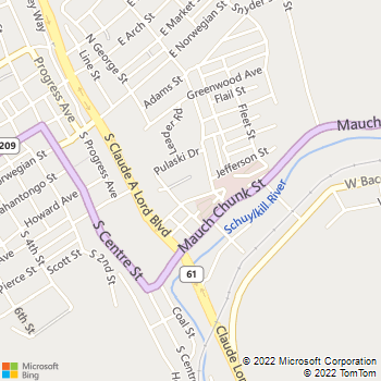 Map - Kephart's General Contracting - 412 Washington St - Pottsville, PA, 17901