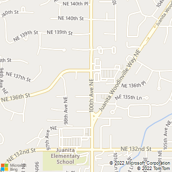 Map - Juanita Hills Animal Hospital - 13603, 100th Ave NE - Kirkland, WA, 98034